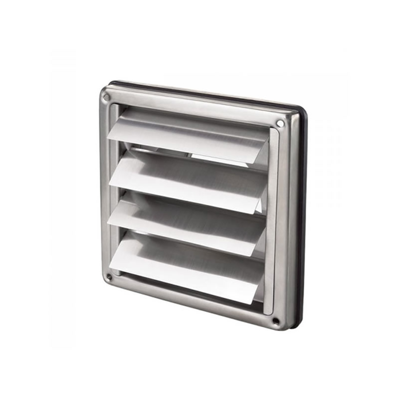 Vent With Gravity Shutters 100mm Stainless Steel
