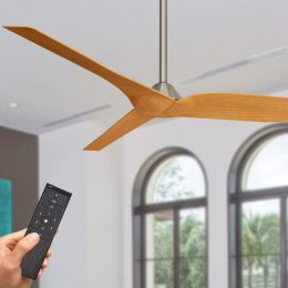Outdoor ceiling fans fans for alfresco patio coastal locations infinity ceiling fan dc motor 54 with remote brushed chrome with timber look blades aloadofball Image collections