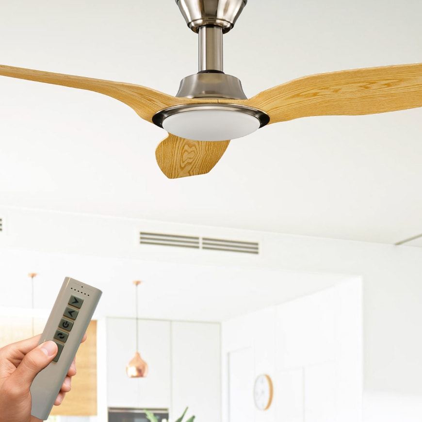 Trident ceiling fan with led light dc motor 56 with remote satin trident ceiling fan with led light dc motor 56 with remote satin nickel pine lumera living aloadofball Gallery