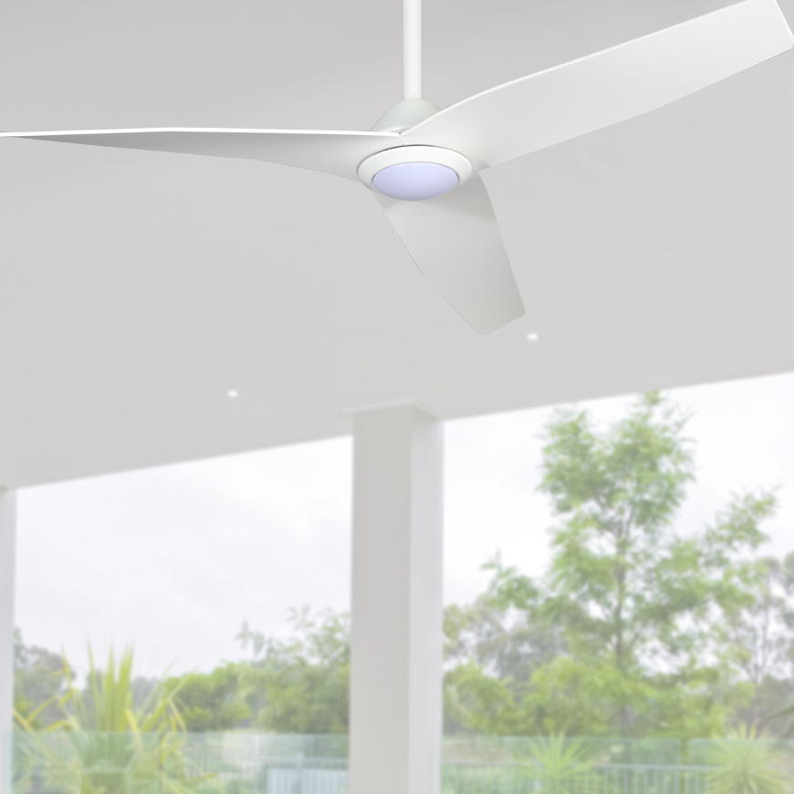 Low Profile Infinity Ceiling Fan with LED Light White 48