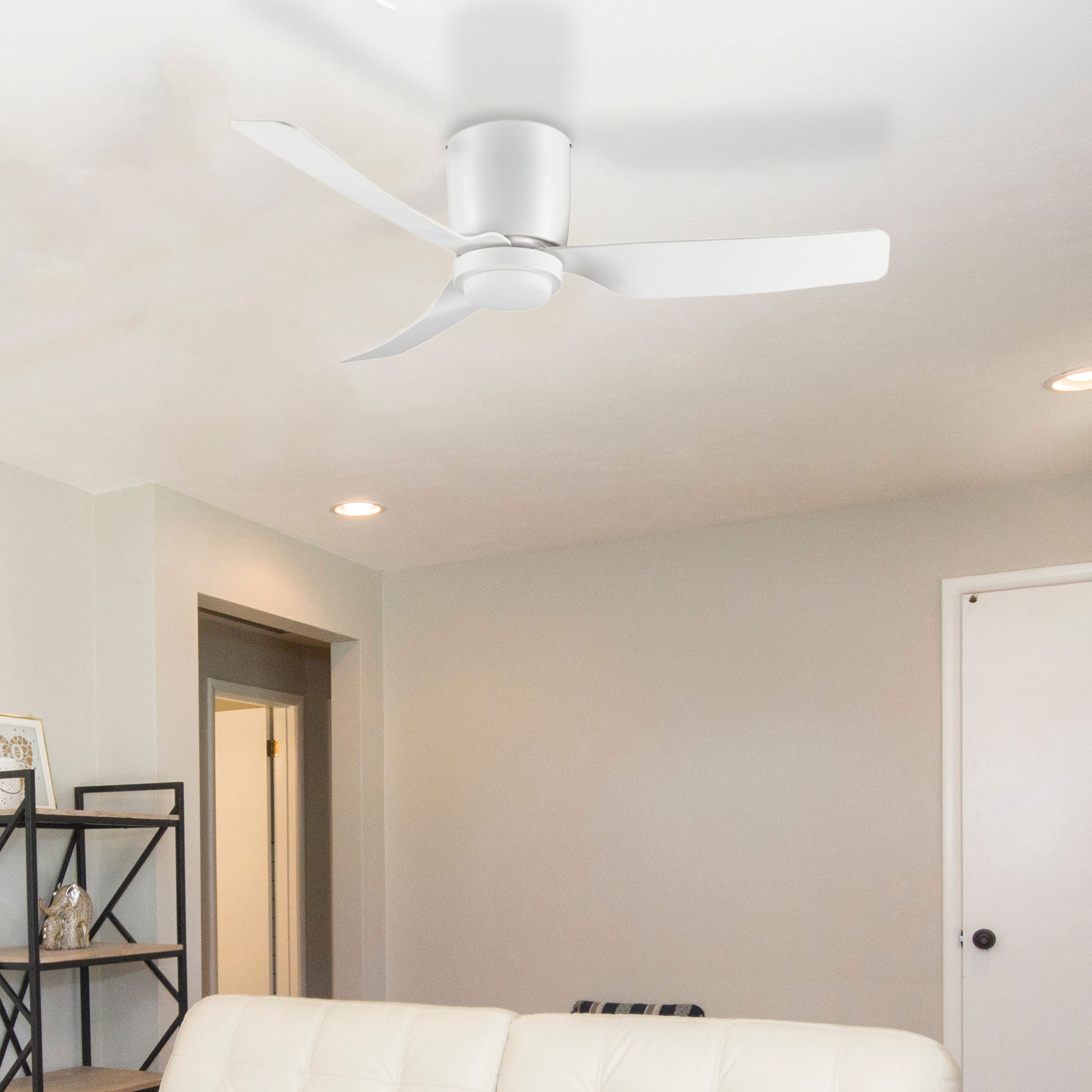 Hugger Low Profile Ceiling Fan With Led Light 44 White