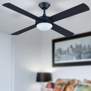 black intercept ceiling fan with light