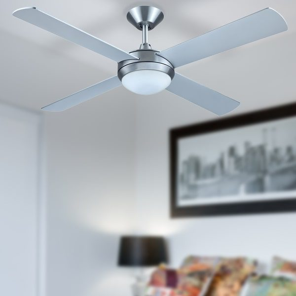 brushed aluminium hunter pacific intercept 2 ceiling fan with light