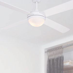 white intercept ceiling fan with light