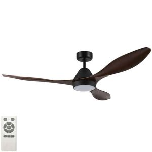 Nevis LED Ceiling Fan Black With Aged Elm Blades