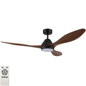 Nevis LED Ceiling Fan Black With Teak Blades