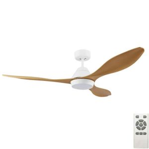 Nevis LED Ceiling Fan White with Bamboo Blades