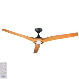 Radical DC Ceiling Fan with LED Light – Black with Bamboo Blades
