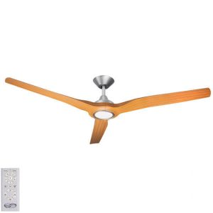 Radical DC Ceiling Fan with LED Light – Brushed with Bamboo Blades